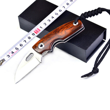 Small Folding Knife Stainless Steel Folding Camping Hunting Knife Yellow Sandalwood Handle 9CR14MOV Blade Outdoor Supplies Tool