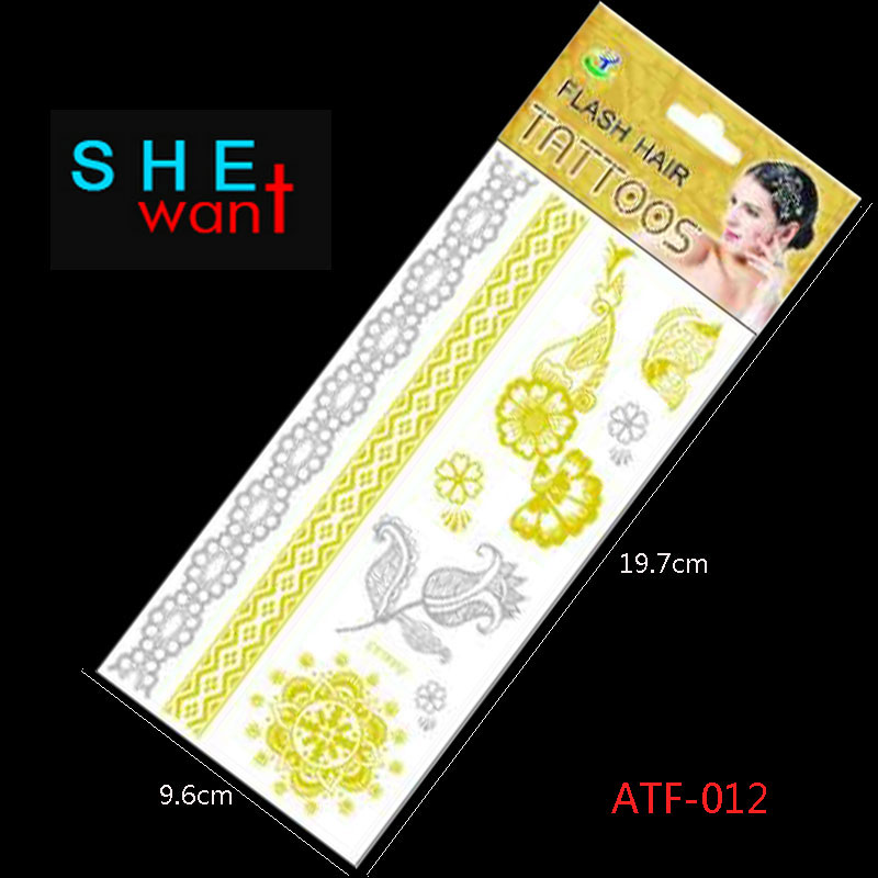 Atf-012 Hot Flash Leaves Bracelet Gold Metallic Tatoo Temporary Sexy Women Hair Wrist Body Art Jewelry Tattoo Stickers Design ...