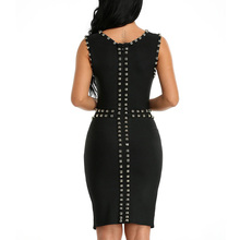INDRESSME 2018 New Women's Sleeveless Beaded Split Mini Bodycon Bandage Dress Club Party Lady