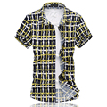 Hot Sale 2016 Summer Mens Short Sleeve Shirt Fashion Plaid Plus Size 6XL Casual Shirt Men High Quality Mercerized Cotton Shirts