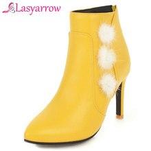 Lasyarrow Zipper Botas Feminina Sexy de Salto Alto Ankle Boots Para A Mulher Inverno Quente Elegante Casamento Sapatos de Salto Alto Zapatos Mujer F444