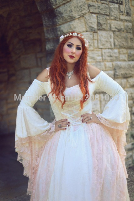 New color! Gwendolyn Princess Fairy Medieval Velvet and Lace Wedding Gown Cream and Pink