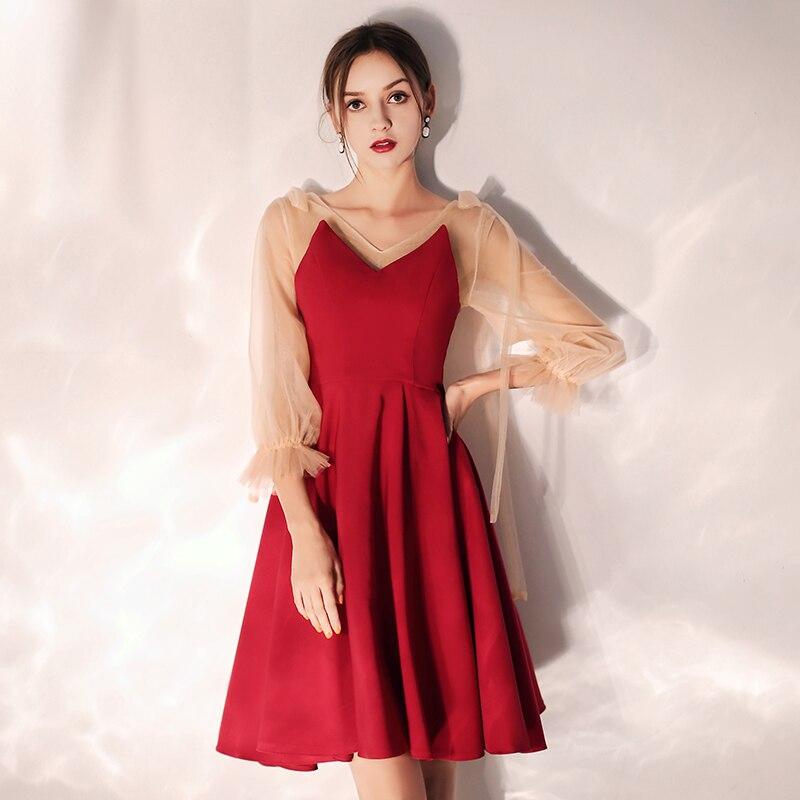 2019 V-Neck Long Sleeve Zipper Back Above Knee Mini Wine Red Cocktail Dress Short Party Dress Evening Elegant Formal Dress LF385