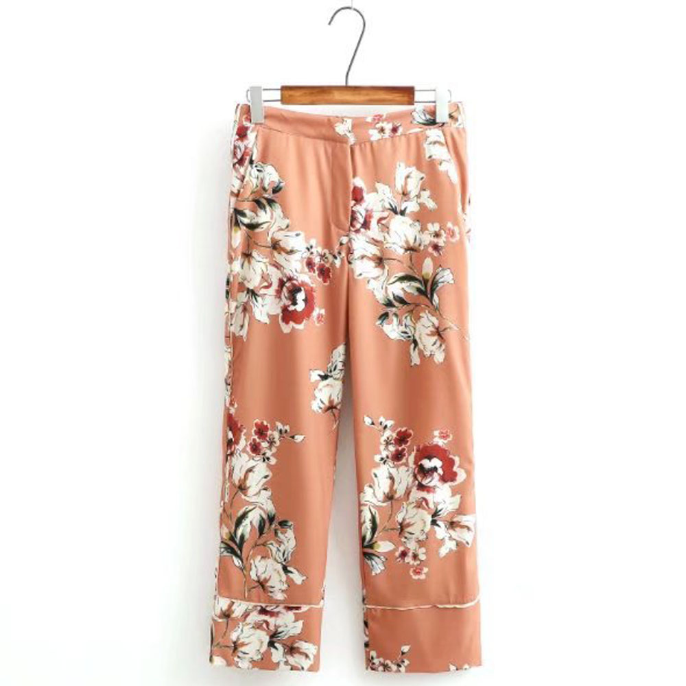 Retro Floral Pattern Trousers High Waist Casual OL Loose Straight   Pants     Capris   Calf-Length   Pants   Fashion Women Brand K17-02-46