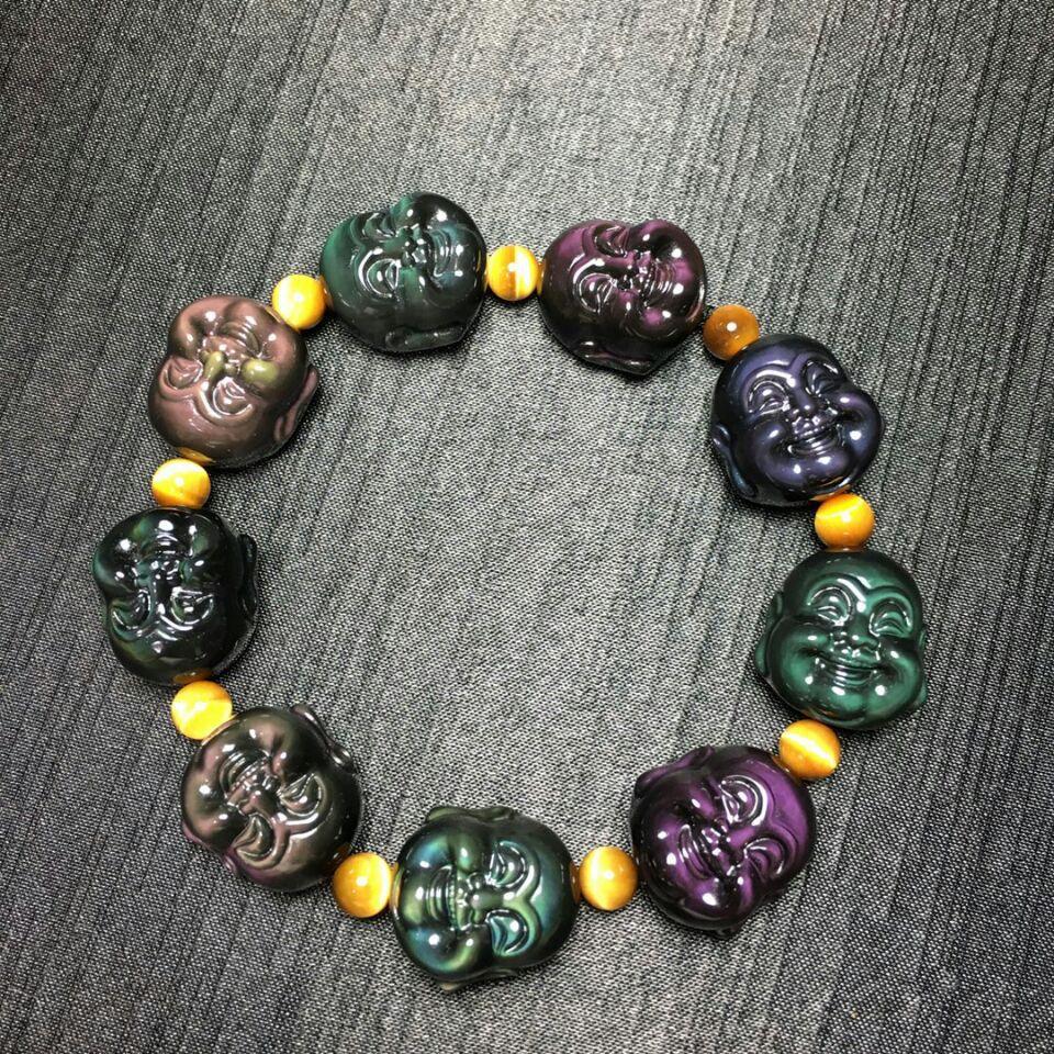 Levier de visage souriant obsidienne arc-en-ciel mexicain naturel bracelet ms. Bouddha chaîne de main en cristal