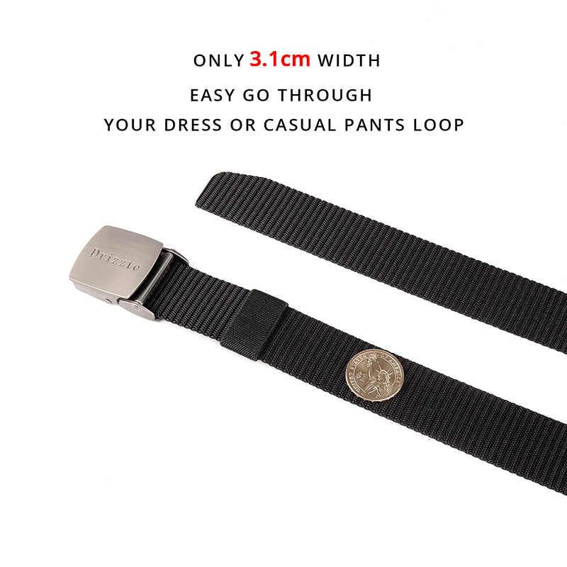 Drizzte prawdziwe 120-180cm Plus rozmiar długi męska czarny pas nylonowy wojskowe taktyczne metalowa klamra pasa 3.1cm szerokość pasuje większość szlufki