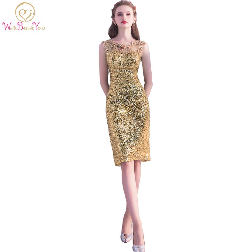 Walk Beside You Gold Cocktail Cocktail Dresses Bandage Sheath Sexy Sequined Knee Length Party Party Formal