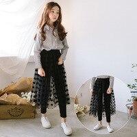 Baby Girl Skirt Long Tutu Black Dots Mesh Skirt Maxi Fake Two Piece Pants For Girls