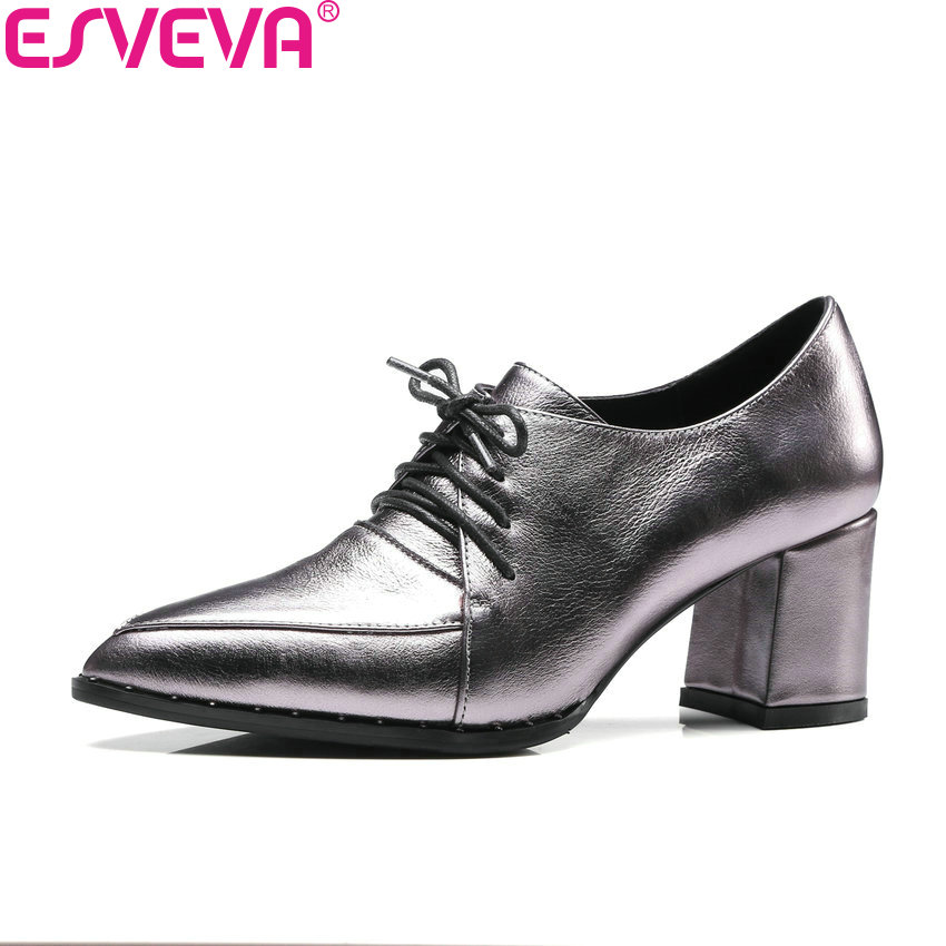 ESVEVA 2018 Casual Women Pumps Shoes Square High Heels Pointed Toe Lace Up Cow Leather PU Western Style Ladies Shoes Size 34-39 esveva 2018 pointed toe western style women pumps cow leather pu square high heels lace up out door ladies shoes size 34 43