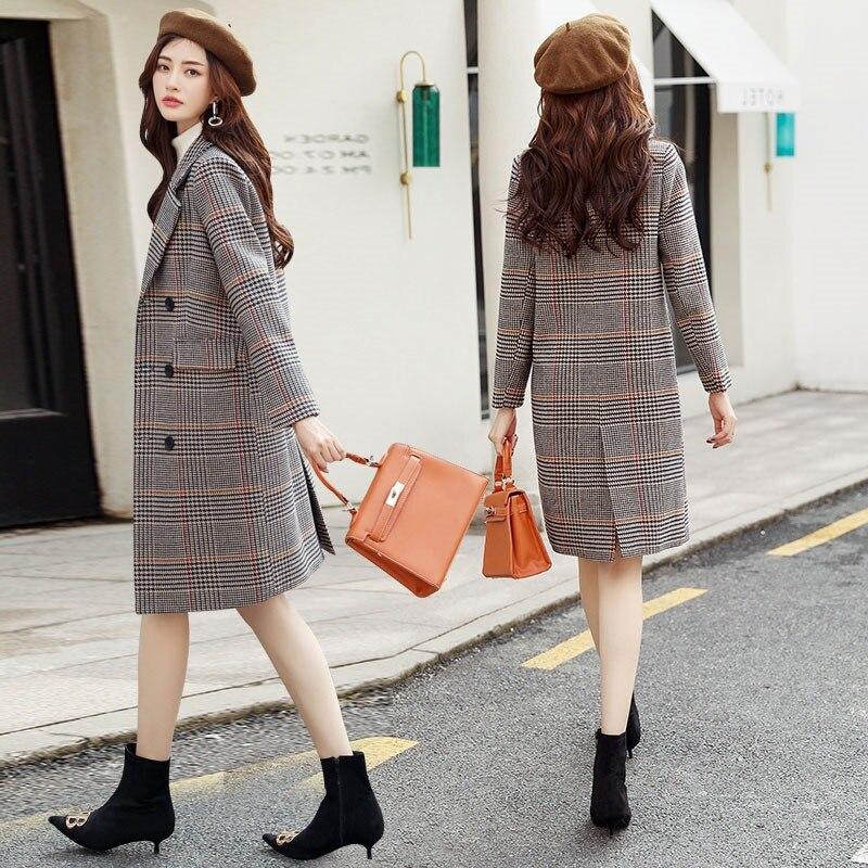 Qualité White Style Élégantes Mujer Manteau La Taille Tranchée Dames 2xl Coffee Manteaux Coréen Lâche De Haute Plaid Minimaliste Trenca Plus black Femmes Outwear Plaid qtgxrtnp