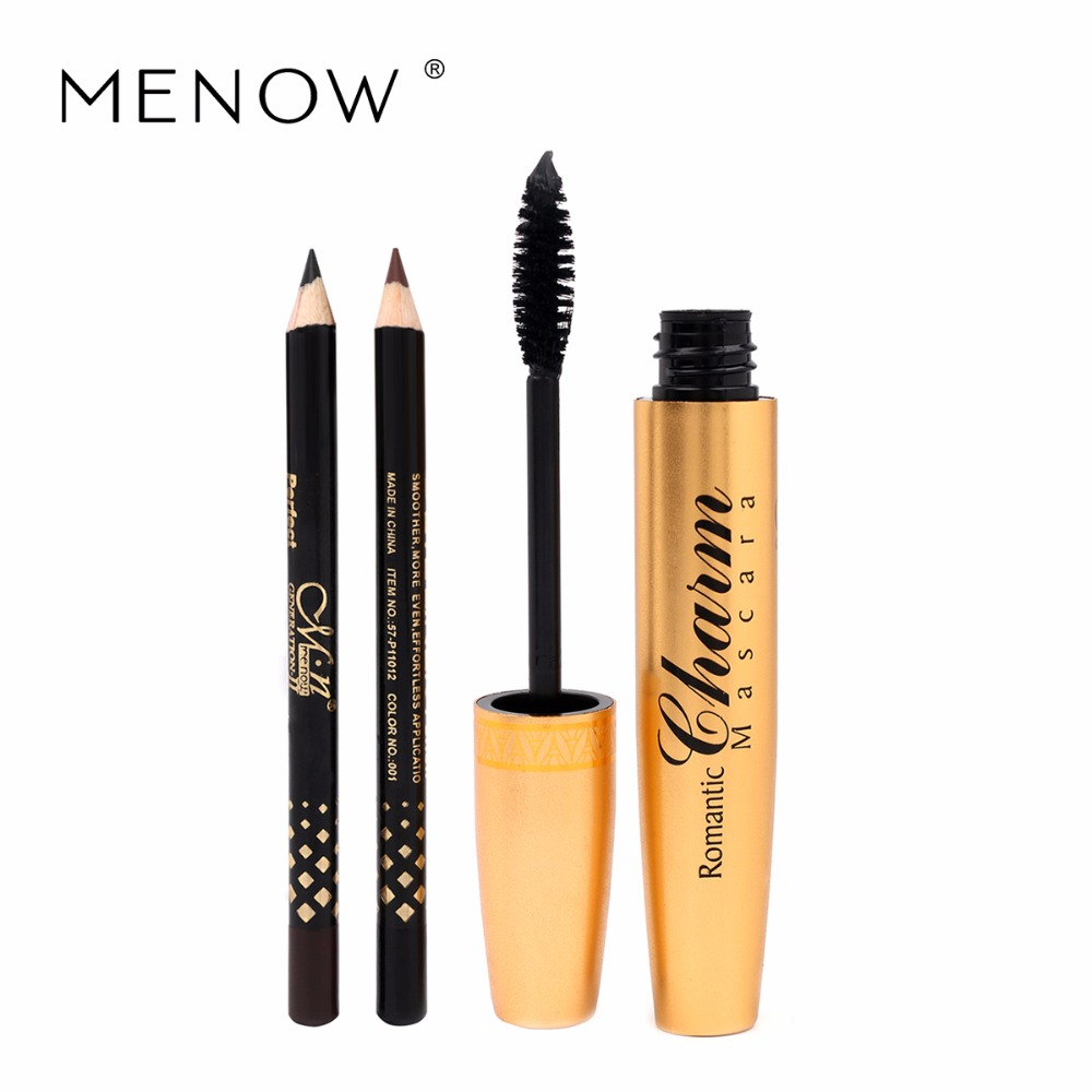 Menow Brand Professional makeup Golden tubes thick mascara Set With Gift Two Pencil black / brown Color Eye Cosmetic M13002
