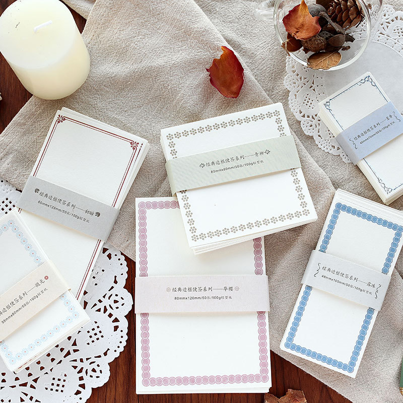 50Pcs Classic Vintage Border Note Series Cute Stick Notes Memo Pad Diary Stationary Flakes Scrapbook Decorative Sticky Notes