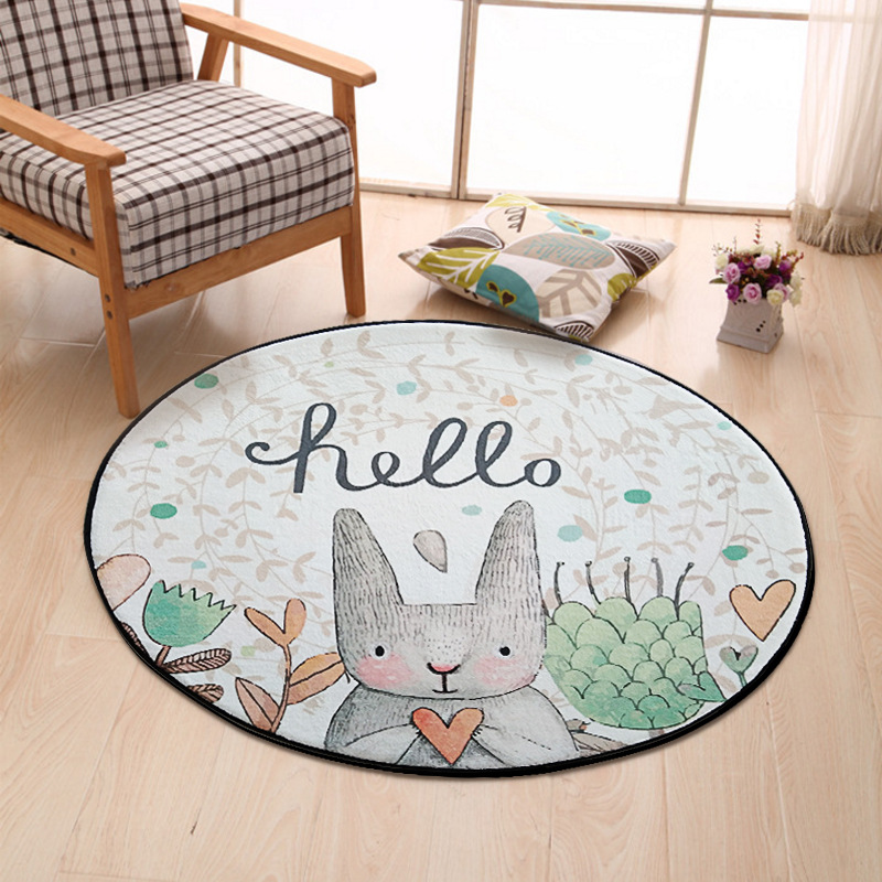 Nordic style Round Carpet Flannel Lovely Rabbit Printed Round Rugs Living Room Doormat Mat for Kids Room Home Decor 80/100/120CM