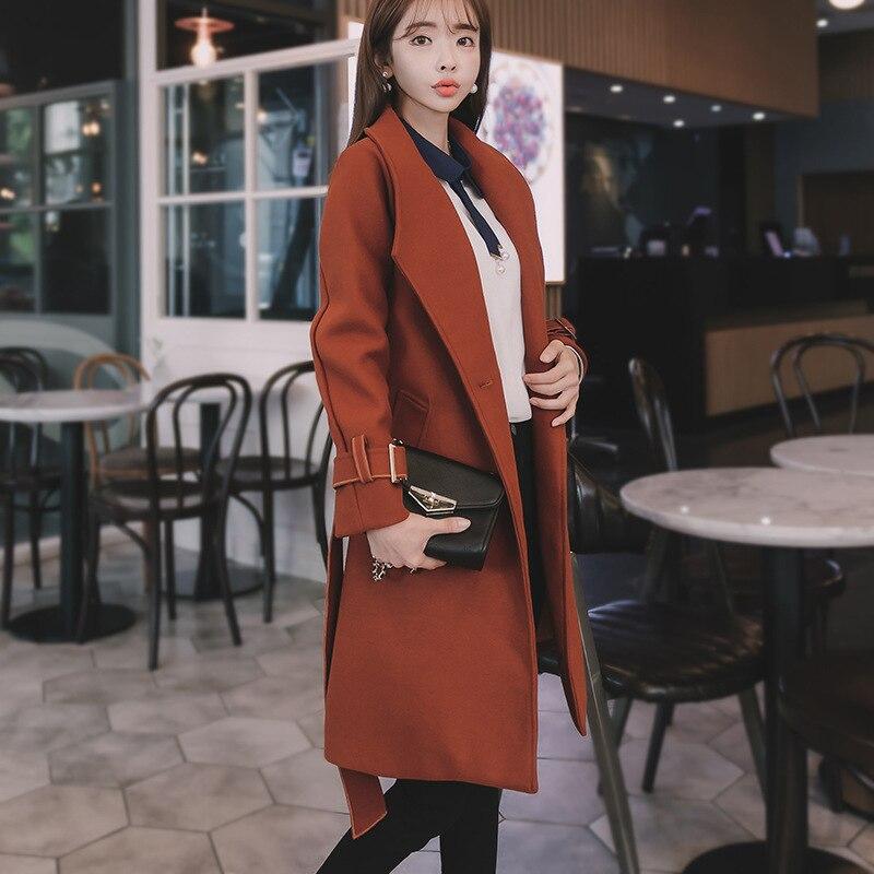 Des De Manteau Style Bouton down Veste Coréen Marron Mode Femmes Turn Angleterre Mélange Dames Unique Lâche Long Col Laine xqIw1T