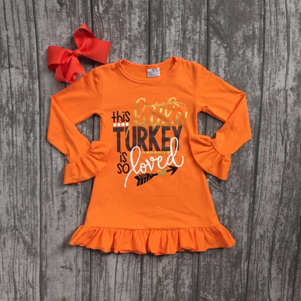 thanksgiving baby girls Fall this turkey is so loved outfits orange dress boutique ruffle cotton children clothes match clip bow fall halloween clothes cutest pumpkin short sleeve orange black sequins suit children boutique long pants with matching bow set