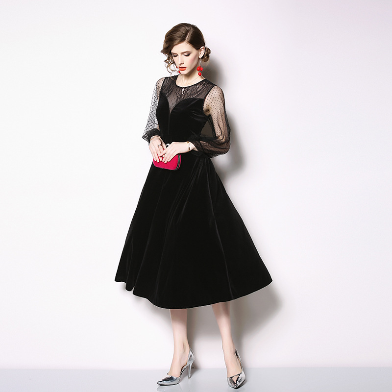 xxl Big Femmes Plus Velours Noir S Black Robe Patchwork Sequin Taille Vintage Swing De Soirée Dentelle WEH29DI