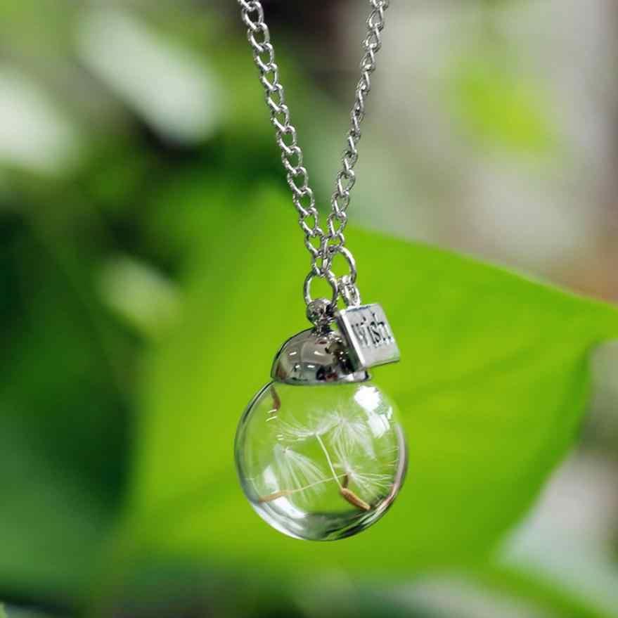 Новый стиль желание стекло Настоящее Одуванчик ожерелье s ювелирные семена в стеклянной бутылке желание колье крутящий момент цепи ожерелье кулон украшения