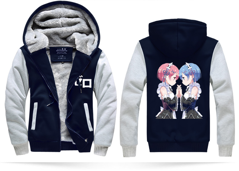 Winter Jackets Re:Life in a different Rem Ram costume hoodie Anime cos Hooded Thick Zipper Mens cardigan fleece slim Sweatshirts