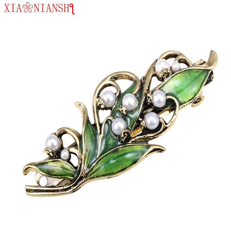 Newest Fashion Women Retro Enamel Leaf Barrettes Ancient Bronze Gold Alloy Hairpin Girls Folwer Hair Clip Pearl Hair Accessories