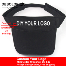 2019 New Visor Caps Women Open Tops Customized Adjustable Hats LOGO Printing Candy Color Adult Baseball Sun 10pcs/lot