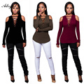 Adogirl 2017 Spring Fahsion Woman Tee Shirt Sexy Club Night Party Bodycon Off The Shoulder T Shirts Women Casual Slim Tops