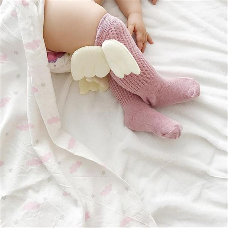 0-4y Baby Socken Neugeborenen Mädchen 3d Angel Wings Weiche Baumwolle Spitze Socken Kinder Lange Knie Hohe Bein Wärmer Baby Kleidung Gute QualitäT