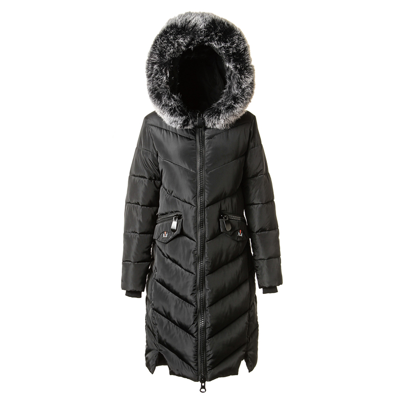 2017 autumn winter new woman hooded long thick cotton coat clothes Female Slim big fur collar pocket zipper warm jacket 2017 autumn winter new thick women long slim warm cotton big fur collar coat female zipper hooded parkas jacket