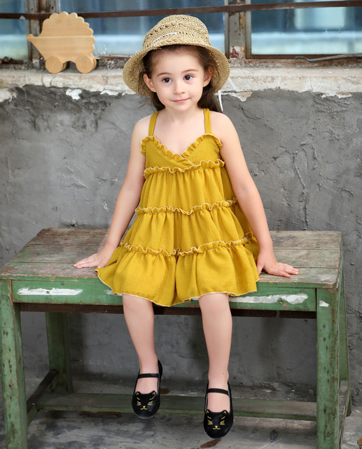 cc9105d9b2 Cute Baby Girls Party Tutu Strap Cotton Linen Organic Green Red Yellow Dress  Baby Kids Cloth Summer Dress Girls Holiday Fashion