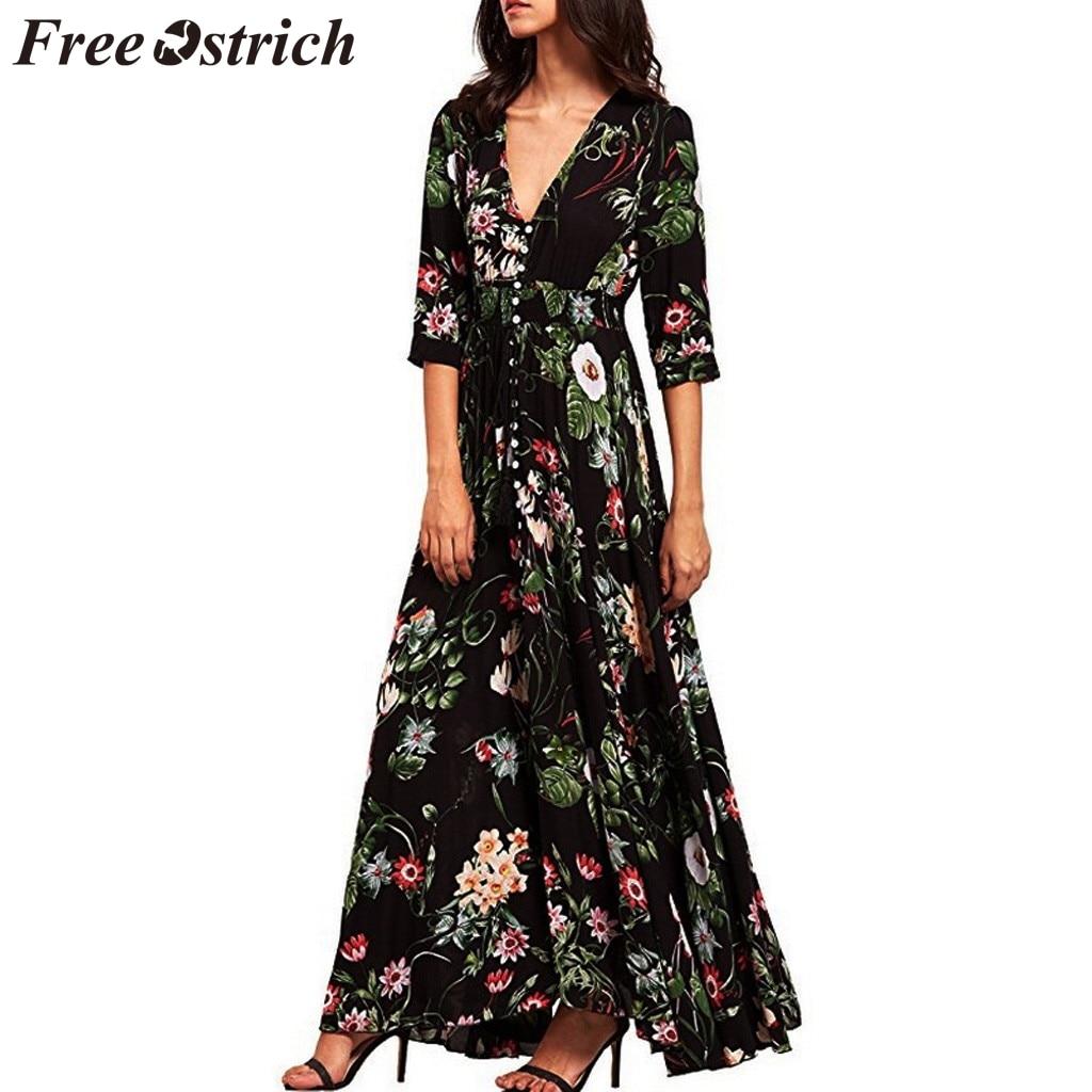 €4.97 43% СКИДКА|Бесплатная страусиное женское платье с цветочным принтом, на пуговицах, с рукавом до локтя, с разрезом, с цветочным узором, для вечеринки, благородный тренд, Элегантное летнее длинное платье|Платья| |  - AliExpress