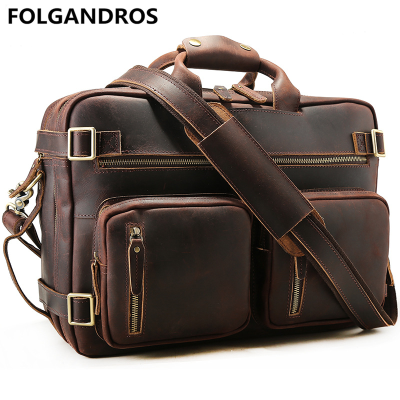 4b3d2260aaeb Винтажный Мужской портфель из натуральной кожи s бренд Handmde портфель  большой емкости Crazy Horse кожаная сумка