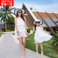 2016 Matching Mother Daughter White Dresses Baby Girl and Mother Chiffe Maxi Dress Outfit Ma e Filha Casual Holiday Dresses
