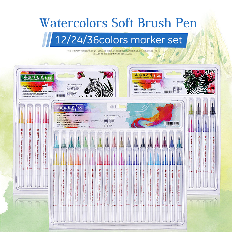 STA 12/24/36 Colors Soft Brush Pen Set Best Durable Watercolor Pen For Adult Coloring Books Manga Comic Calligraphy Art Supplies 20 color premium painting soft brush pen set watercolor art copic markers pen effect best coloring books manga comic calligraphy