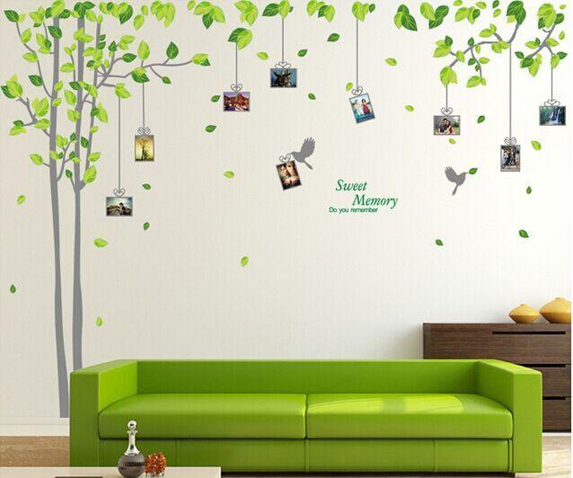 free shipping yisin pvc green memories tree photo album wall