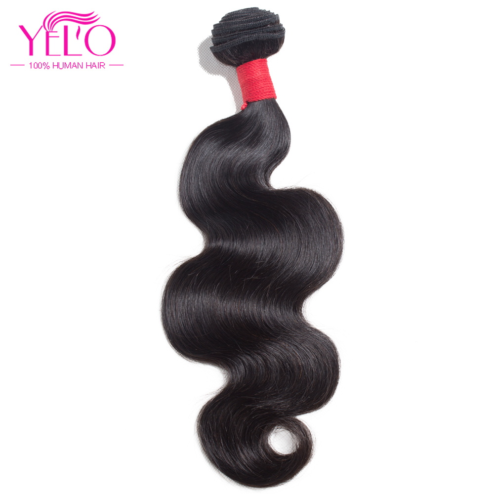 Yelo Natural Black Peruvian Human Hair Bundles Body Wave Hair Veving - Menneskelig hår (for svart)