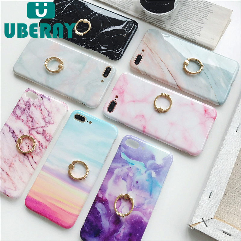 Galleria fotografica UBERAY Case For iphone 6 6s 7 8 plus Phone Case Marble Rainbow Pink Diamond Finger Ring Soft TPU Back Cover For iPhone X Coque