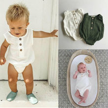 0-24M Newborn Cotton Linen Romper Baby Boy Girl Sleeveless Solid Romper Infant Toddler Outfit Sunsuit Clothes