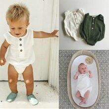 0-24M Newborn Cotton Linen Romper Baby Boy Girl Sleeveless S