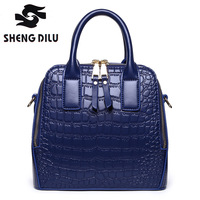 Women S Vintage Genuine Leather Tote Shoulder Bag Top Handle Crossbody Handbags Ladies Purse Crocodile Grain