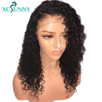 xcsunny Malaysian Kinky Curly Lace Front Human Hair Wigs With Baby Hair Preplucked Remy Hair 130% Density Natural Color