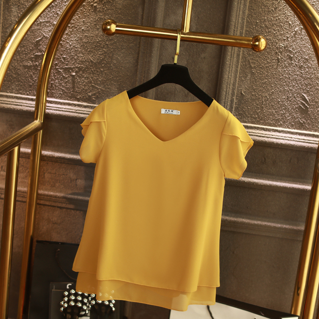 100% Original Women Chiffon Shirt 2019 Summer Short sleeve V-neck Blouse Casual 9 Solid color Loose Oversized Lady Tops 2