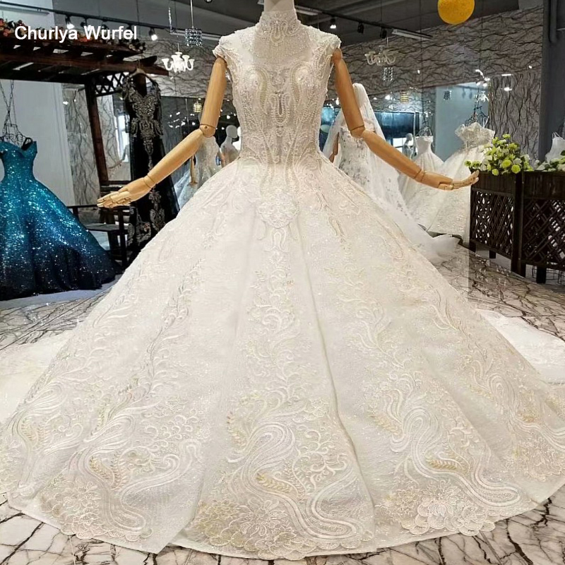 LS647411 luxury dubai wedding dress high crystal neck sleeveless bridal see-through back beaded wedding gown fast free shipping
