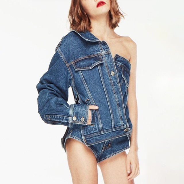 TWOTWINSTYLE Casual One Shoulder Denim Jacket For Women Lapel Long Sleeve Button Side Split Coat Female Fashion Summer 2019 1