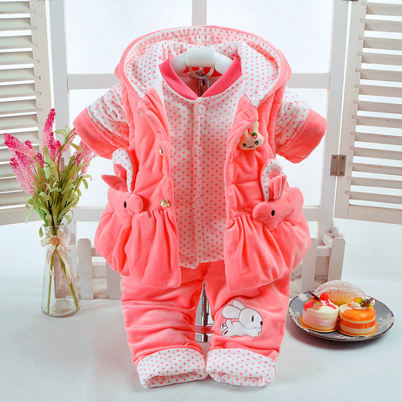 Rabbit autumn winter cotton padded clothes suit children cashmere thickening suit baby boy girl  clothing set for kids 3colors tracksuit boy new korean boys sport suit autumn winter velvet children clothing set big boy girl sportswear suit kids clothes