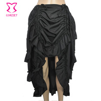 Black Long Chiffon Ruffled Sexy Corset Skirt Steampunk Clothing Women Plus Size Gothic Skirts Match Victorian Burlesque Costumes