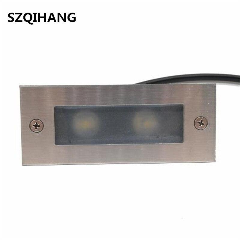 IP68 3 w 6 W Led Passo Luz ao ar livre de Alumínio Recesso Lâmpada de Parede Da Escada Footlight Incorporado Lâmpada Canto da Escada À Prova D' Água
