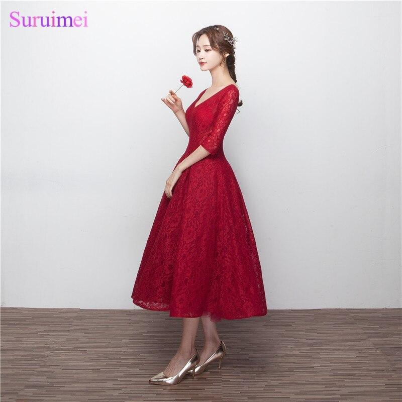 Wine Red Brautjungfernkleider mit Halbarm V ausschnitt Korsett Lace ...