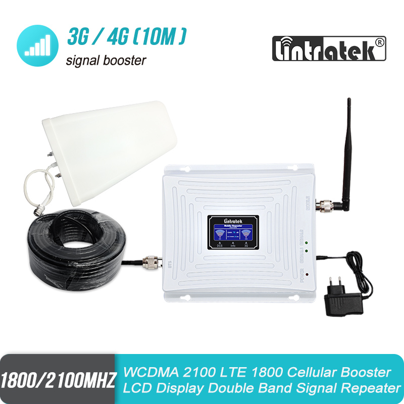 Lintratek 3G 2100mhz 4G 1800mhz Signal Booster W-CDMA LTE 1800 2100 Double Band Cellular Repeater Amplifier UMTS Antenna Set #4