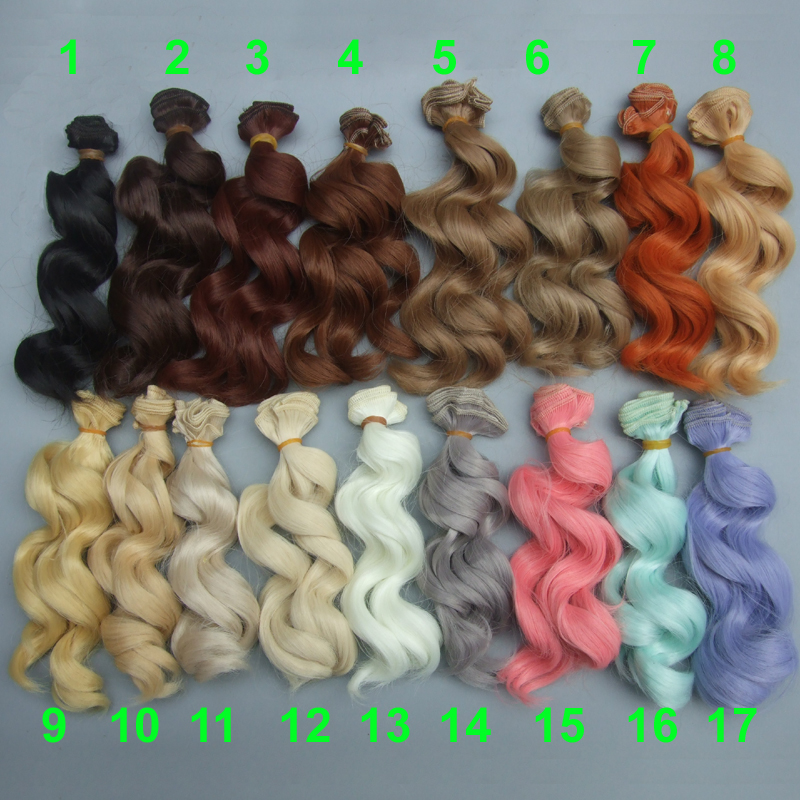 free shipping 15 cm high temperature heat resistant doll hair for 1/3 1/4 1/6 BJD diy curly doll wigs image