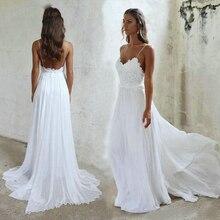 Elegant BOHO White Wedding Dress Long 2019 Ivory Gowns Women Party Sweetheart Chiffon Lace Appliques Sexy Bridal Dresses