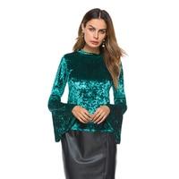 Flare Sleeve Velvet Blouse Women S Tops Fashion Autumn New Arrival Green Black Long Sleeve Elegant